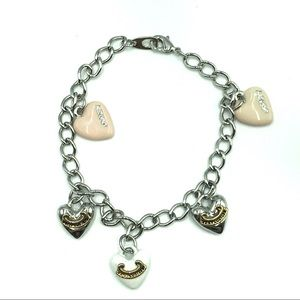 Juicy Couture Bracelet White Pink Heart Charm